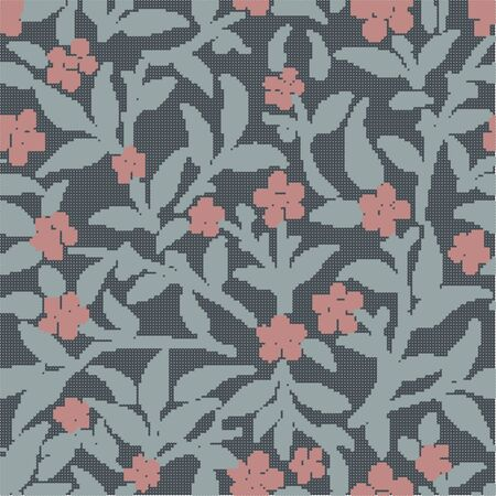 Halftone colorful seamless retro pattern botanic garden flower leaf plant