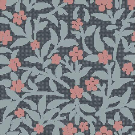 Pianta senza cuciture variopinta di semitono del foglio del fiore del giardino botanico del modello di retro Archivio Fotografico - 80396799