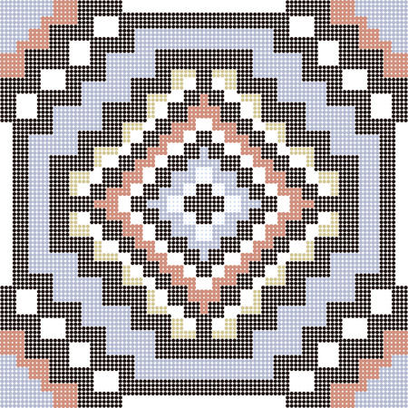 octagon: Halftone colorful seamless retro pattern square mosaic octagon geometry cross