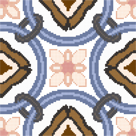 Halftone colorful seamless retro pattern vintage round circle cross chain flower