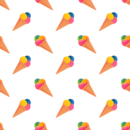 lollies: Seamless background image colorful watercolor texture popsicle pattern