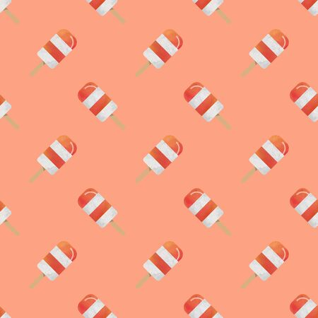 Seamless background image colorful watercolor texture popsicle pattern