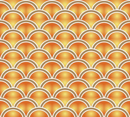 Retro seamless wallpaper background vintage orange yellow gradient scale curve round Illusztráció
