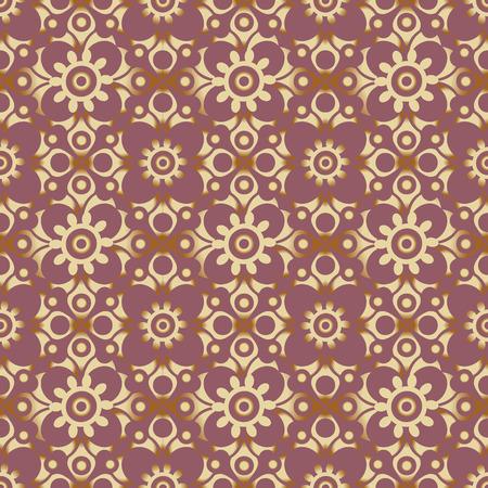 A retro seamless wallpaper background round curve cross flower kaleidoscope Illusztráció