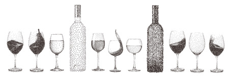 Abstract stipple wine glass isolated vector objects collection set