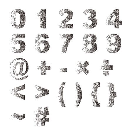 Black white stipple dots texture font typographic letters number and notation Illustration