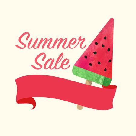 lollies: Colorful watercolor texture vector popsicle summer sale promotion banner title template Illustration