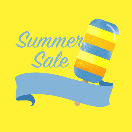 girlish: Colorful watercolor texture vector popsicle summer sale promotion banner title template Illustration