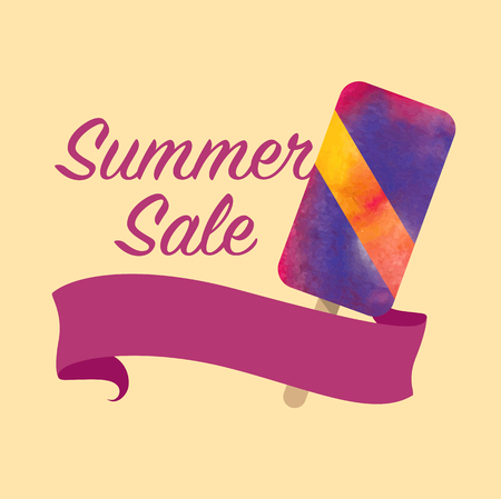 lollies: Colorful watercolor texture vector summer sale promotion banner title template