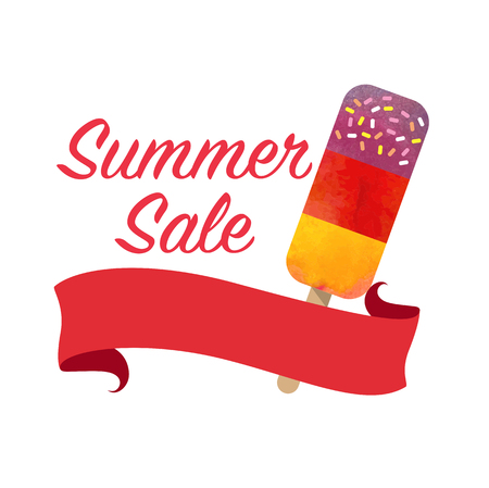 girlish: Colorful watercolor texture vector summer sale promotion banner title template