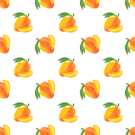 Seamless background image colorful watercolor texture tropical fruit mango
