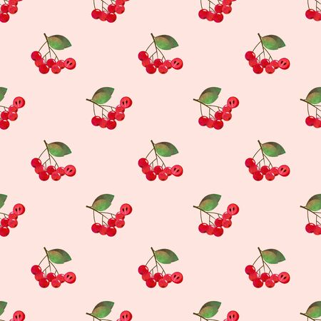 chokeberry: Seamless background image colorful watercolor texture tropical fruit red chokeberry aronia berry Stock Photo