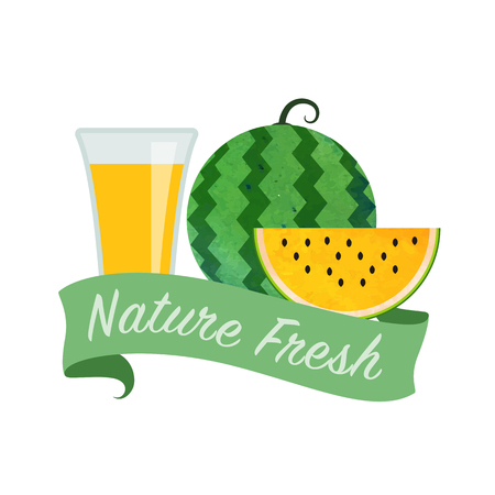 girlish: Colorful watercolor texture vector nature organic fresh fruit juice banner yellow water melon