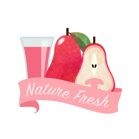 girlish: Colorful watercolor texture vector nature organic fresh fruit juice banner rose apple Illustration