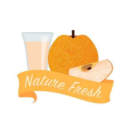 girlish: Colorful watercolor texture vector nature organic fresh fruit juice banner nashi pear