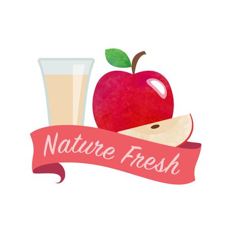 lollies: Colorful watercolor texture vector nature organic fresh fruit juice banner apple Illustration