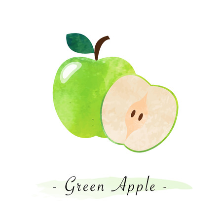 Colorful watercolor texture vector healthy fruit green apple