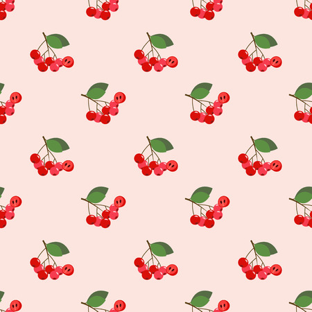Seamless background image colorful tropical fruit red chokeberry aronia berry