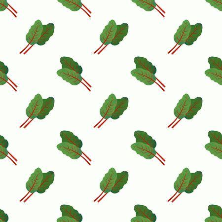 Naadloze van het de textuur plantaardige voedsel van het achtergrondafbeelding kleurrijke waterverf van het ingrediëntenmengelmiddel Zwitserse snijbietbladeren