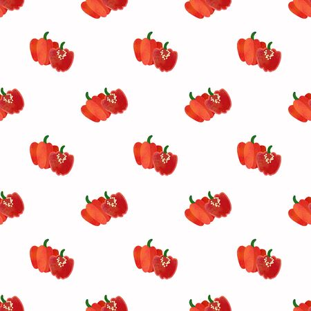 Seamless background image colorful watercolor texture vegetable food ingredient red Scotch bonnet pepper Stock Photo