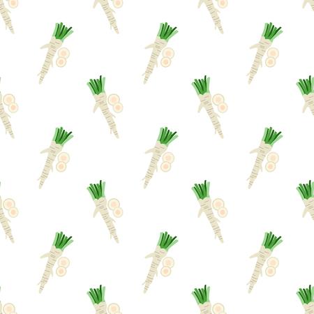 Bunter Gemüse-Lebensmittelinhaltsstoffmeerrettich des nahtlosen Hintergrundes