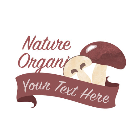 fungous: Colorful watercolor texture vector nature organic vegetable banner fungous mushroom