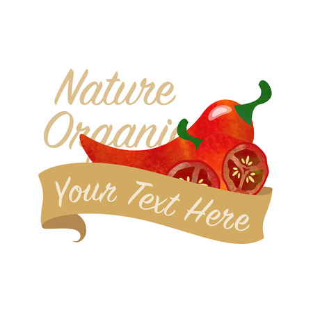 Colorful watercolor texture vector nature organic vegetable banner red jalapeno pepper Illustration