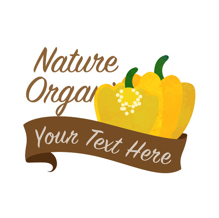 Colorful watercolor texture vector nature organic vegetable banner yellow Scotch bonnet pepper