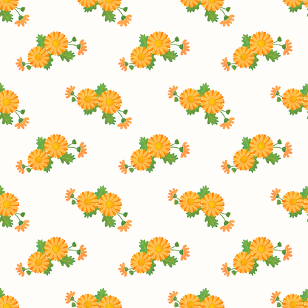 Seamless background image colorful watercolor texture botanic flower leaf plant asteraceae orange daisy