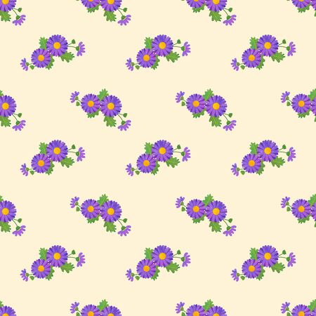 Seamless background image colorful watercolor texture botanic flower leaf plant asteraceae purple daisy