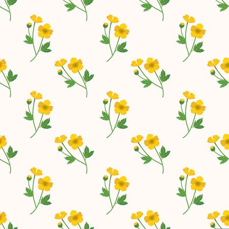 Nahtlose Hintergrundbild bunte Aquarell Textur botanische Blume Blatt Pflanze gelbe Butterblume Standard-Bild - 83936395