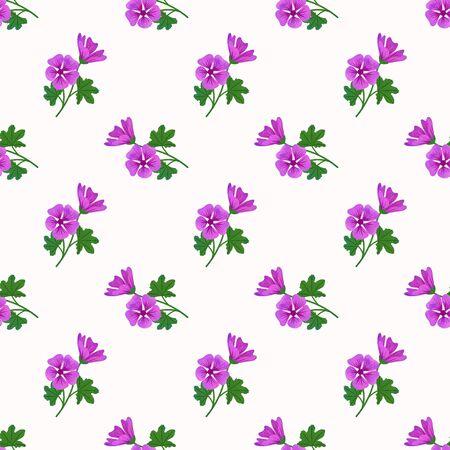 Seamless background image colorful watercolor texture botanic flower leaf plant violet mallow Zdjęcie Seryjne