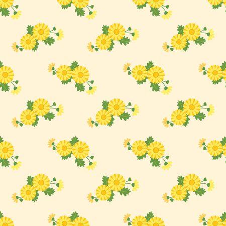 Seamless background image colorful botanic flower leaf plant asteraceae yellow daisy