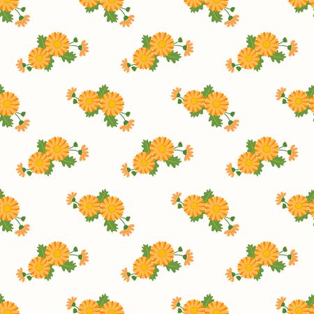 Seamless background image colorful botanic flower leaf plant asteraceae orange daisy