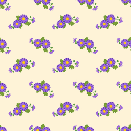 Seamless background image colorful botanic flower leaf plant asteraceae purple daisy
