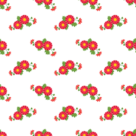 Seamless background image colorful botanic flower leaf plant asteraceae red daisy