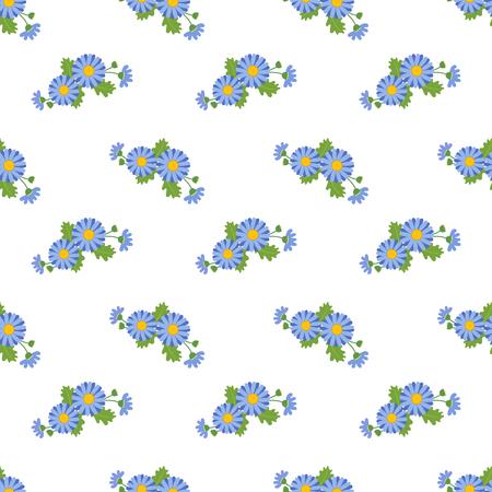 Seamless background image colorful botanic flower leaf plant asteraceae blue daisy Иллюстрация