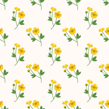 Botanische Blumenblatt-Betriebsgelbbutterblume des nahtlosen Hintergrundbildes bunte Standard-Bild - 84404594