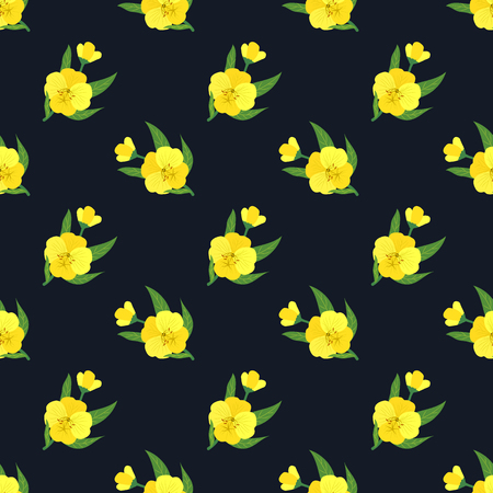 Seamless background image colorful botanic flower leaf plant yellow evening primrose Ilustracja