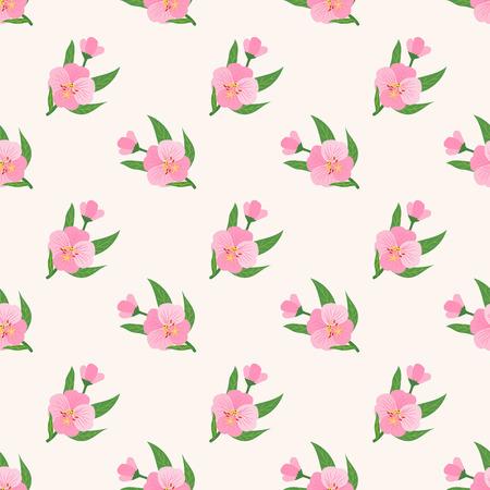 Seamless background image colorful botanic flower leaf plant pink evening primrose