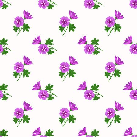 Seamless background image colorful botanic flower leaf plant violet mallow Ilustracja