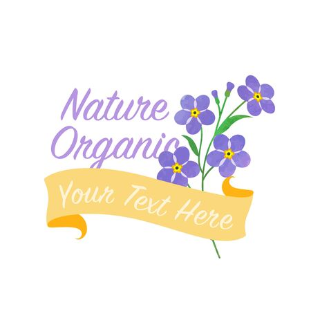 asteraceae: Light purple Forget Me Not Asteraceae banner Illustration