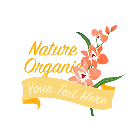 Orange orchid flower banner