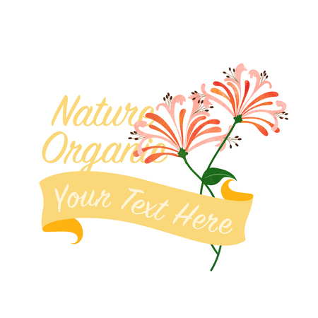 Orange honeysuckle flower banner Illustration
