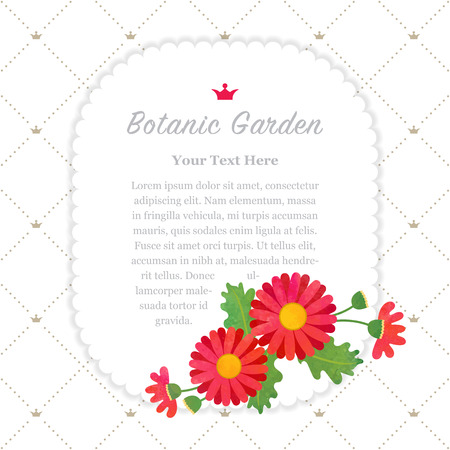 asteraceae: Colorful watercolor texture vector nature botanic garden memo frame asteraceae red daisy