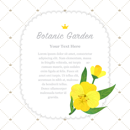 Colorful watercolor texture vector nature botanic garden memo frame yellow evening primrose Ilustracja