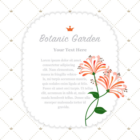 Colorful watercolor texture vector nature botanic garden memo frame orange honeysuckle