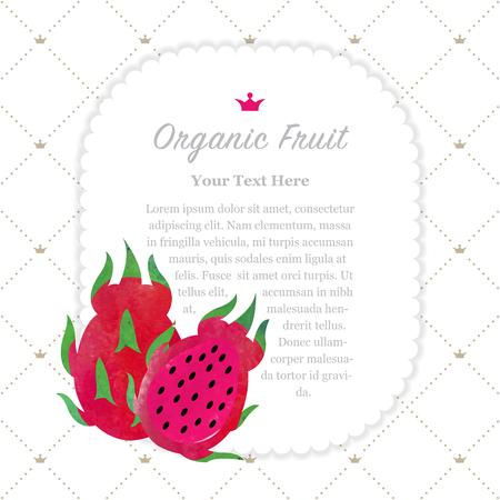 Colorful watercolor texture nature organic fruit memo frame red dragon fruit pitaya