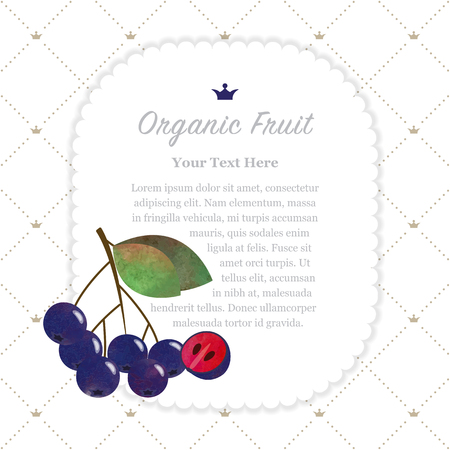 Colorful watercolor texture nature organic fruit memo frame black chokeberry aronia berry