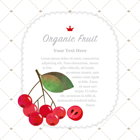 Colorful watercolor texture nature organic fruit memo frame red chokeberry aronia berry